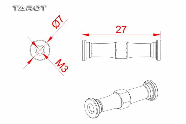 Tarot RC 550/600 Heli tail carbon fiber fixing group MK6071
