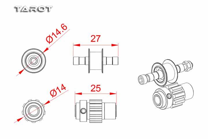 Tarot RC Heli 550/600 belt anti-skid wheel set MK6073